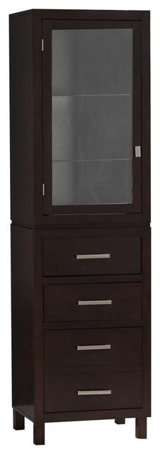Espresso Wood Linen Tower Bathroom Storage Cabinet With Glass Paneled Door.