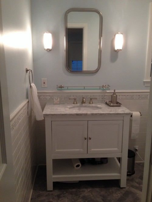 Carrara and sky blue bathroom reveal