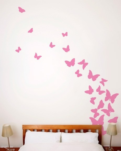 butterflies, pink ribbon, wall decal - contemporary - wall decals