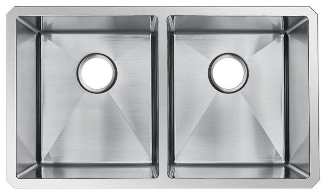Undermount Double Bowl 16 Gauge 304 Stainless Steel Kitchen Sink, 31x18x10.