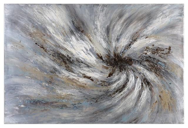 Hurricane Abstract Oversize Oil Painting Art Artwork Gray