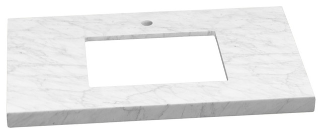 "Ronbow 37""x22"" Wide Appeal Marble Vanity Top With Single Faucet, Carrara White."
