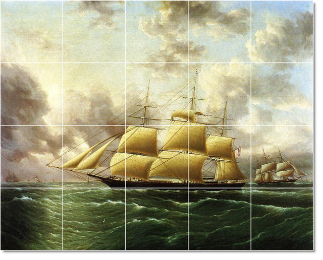 James buttersworth ship boat painting ceramic tile mural for Ceramic mural artists