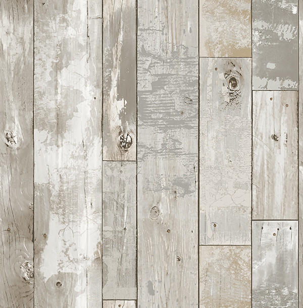 Distressed Wood Panel Wallpaper, Gray, Bolt.