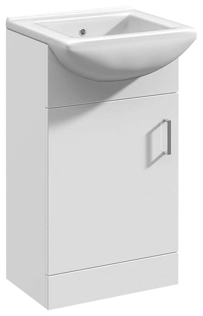Floor Standing Vanity Unit, MDF With White Ceramic Basin, Single Tap Hole