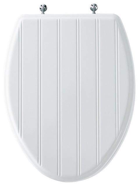 Bemis 129CP 000 Plastic Elongated Toilet Seat White Contemporary Toilet