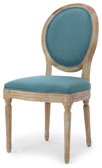 Fabric Dining Chairs Teal hawthorne fabric dining chair, set of 2 - farmhouse - dining