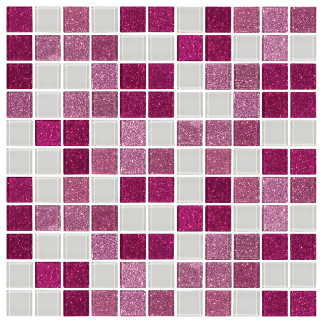 12 X12 Pink Raspberry Glitter And White Gl Tile Mix