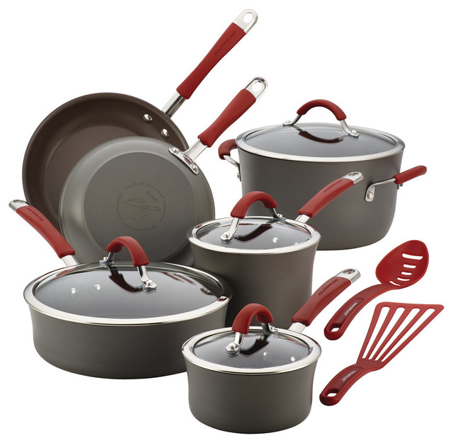 Rachael Ray Cucina Hard-Anodized 12-Piece Cookware Set.