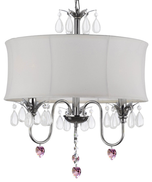 Crystal Chandelier With Large White Shades And Pink Hearts