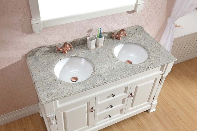 Exceptional White Vanities   Double Basin Vanity With Marble Top Traditional Bathroom  Vanities And Nice Design