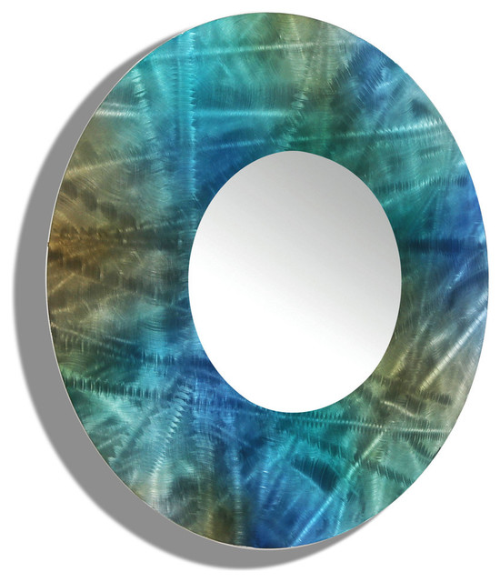 Turquoise Wall Mirror large round wall mirror - contemporary blue and green mirror