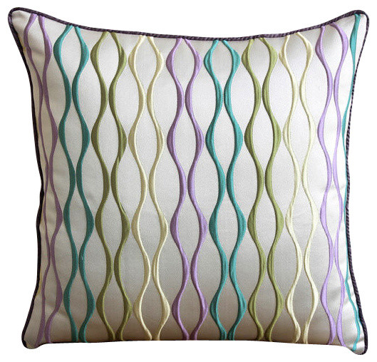 Multicolor Embroidered Multi Jacquard Weave 26x26 Euro Pillow, Multicolor Waves.