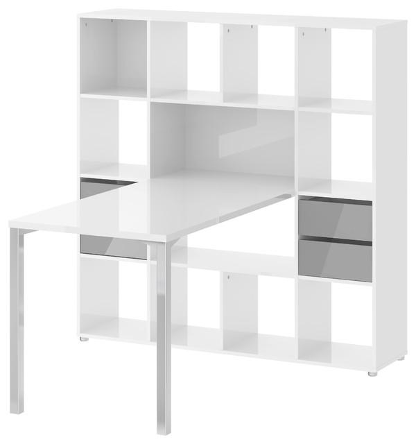 Scandinavian Desks wright desk with 13 shelf bookcase - scandinavian - desks and