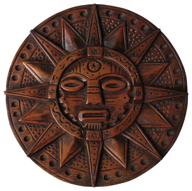 Sofias Findings Sun God Inca Wooden Crafts Hand Carved