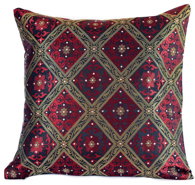 Hand Embroidered Brocade Pillow Cover Set Of 40 Asian Decorative Stunning Asian Pillow Covers