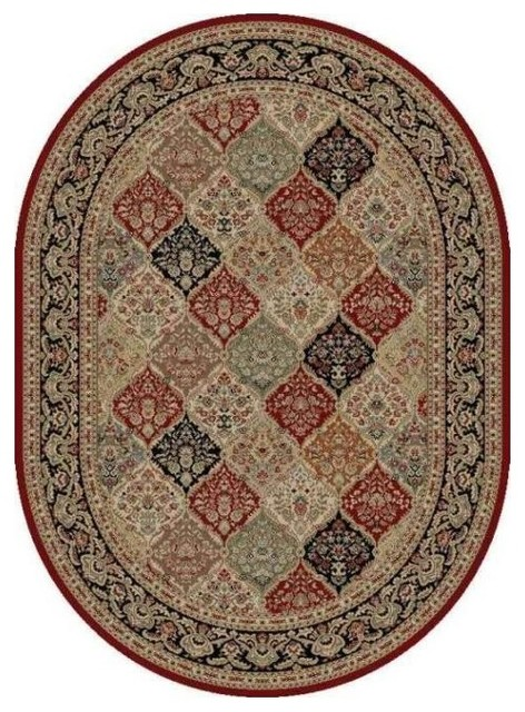 Oval Shape Area Rug In Red Traditional Rugs