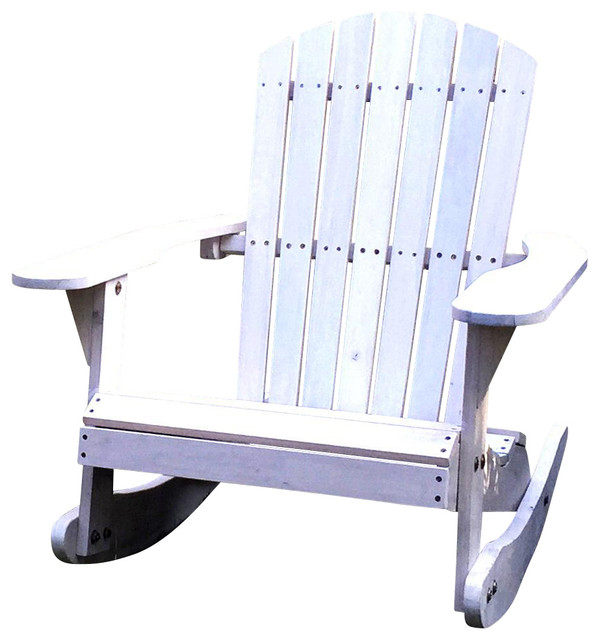 Pelican Hill Wood Adirondack Patio Rocking Chair, White