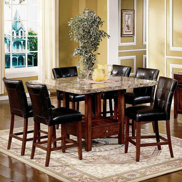 Steve Silver Montibello 7 Piece Marble Top Counter Height Storage Dining Table S