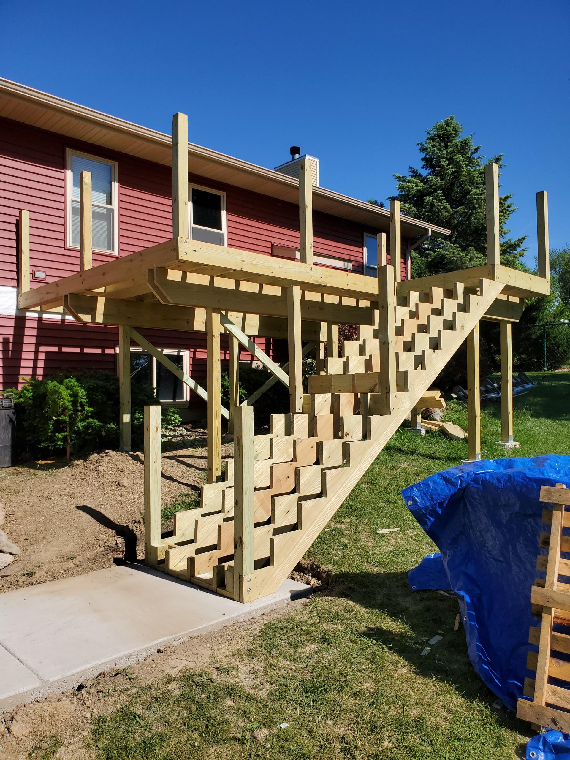 Composite deck framing finished