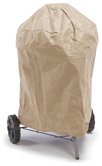 Empirepatio Budge All-Seasons Waterproof Round Smoker Grill Cover Tan.