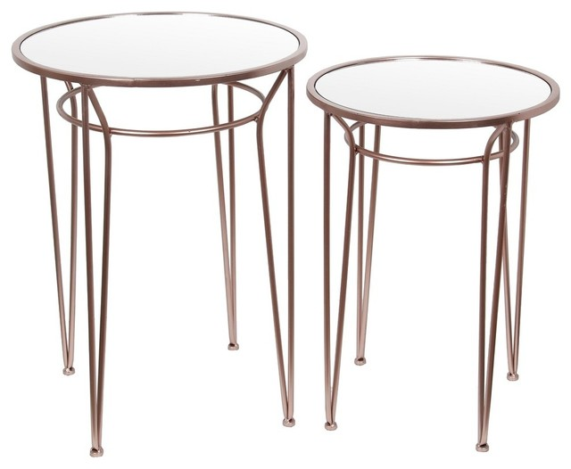 2 Piece Gold Finish Metal And Glass Accent Table Set Eclectic Nightstands And Bedside Tables