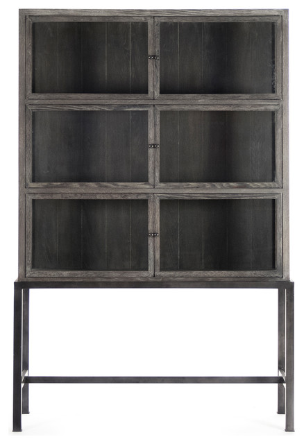Hazel Creek Industrial Loft Gray Oak Iron Base Display Cabinet Industrial  Storage Cabinets