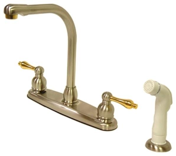 Kingston Brass Satin Nickel Polished Brass High Arch Kitchen Faucet With Non Metallic Sprayer