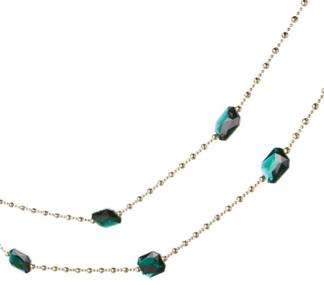 6&x27; Regal Green Jewel And Gold Beaded Christmas Garland.