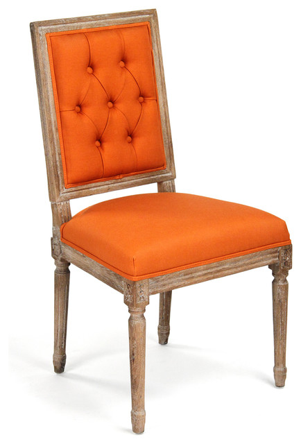 Pair Louis XVI Orange Tufted Linen Dining Side Chair Transitional Dining  Chairs
