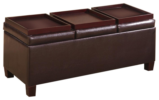 Contemporary Faux Leather Storage Ottoman With Reversible Trays