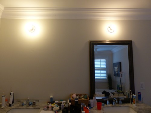 Vanity Light Distance Above Mirror : Correct distance from vanity light to ceiling with crown moulding