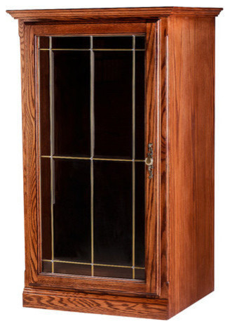 Traditional Oak Audio Tower With V-Groove Glass Door - Rustic - Media Racks And Towers - by Oak ...