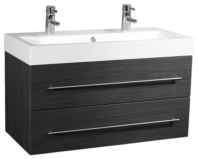 Emotion Sunrise Wall-Mounted Bathroom Vanity Unit, 100 cm, Grained Anthracite