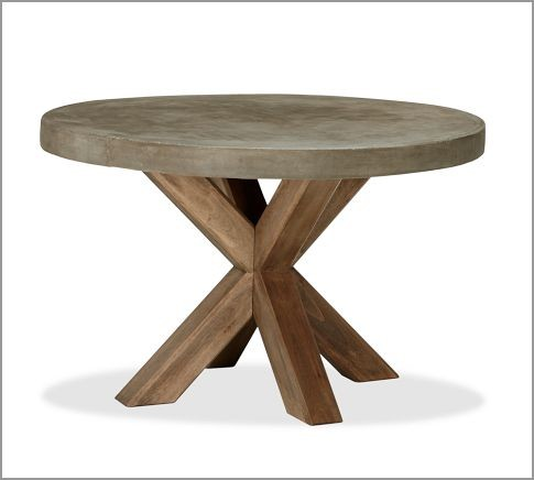 Abbott Faux Concrete Top Round Fixed Dining Table