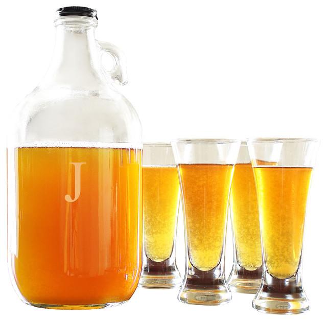 Personalized 64 Oz. Craft Beer Growler & Tasters Set, J