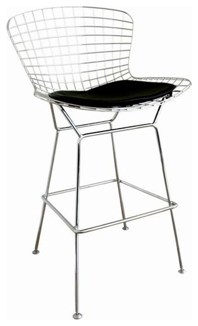 Terrific Bertoia Style Wire Bar Stool White Theyellowbook Wood Chair Design Ideas Theyellowbookinfo