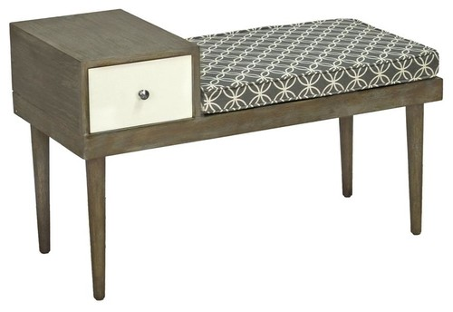 Stevie Table/Bench, Salted Caramel, Gray, White Fabric