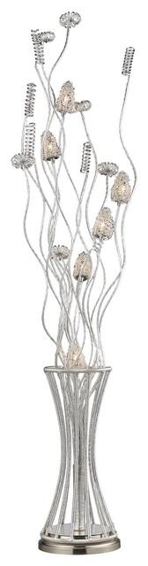Cyprus Grove Floor Lamp, Satin Nickel.