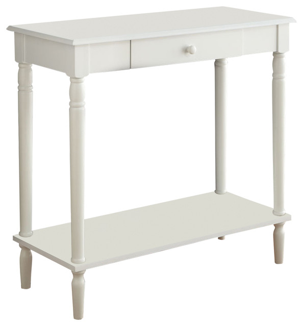 French Country Hall Table With Drawer and Shelf Traditional