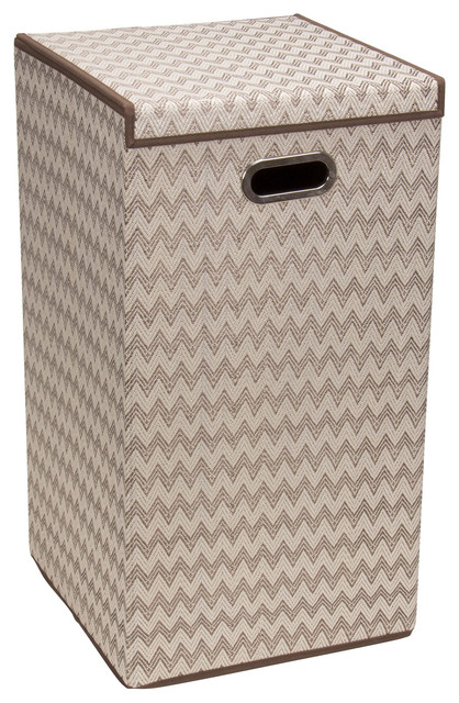 Collapsible laundry hamper with lid chevron contemporary hampers by harvey haley - Modern hamper with lid ...