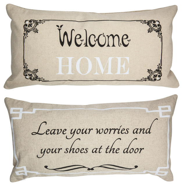 Welcome Home Throw Pillow : Welcome Home Rustic Style Doublesided Linen Pillow - Traditional - Decorative Pillows - by ...