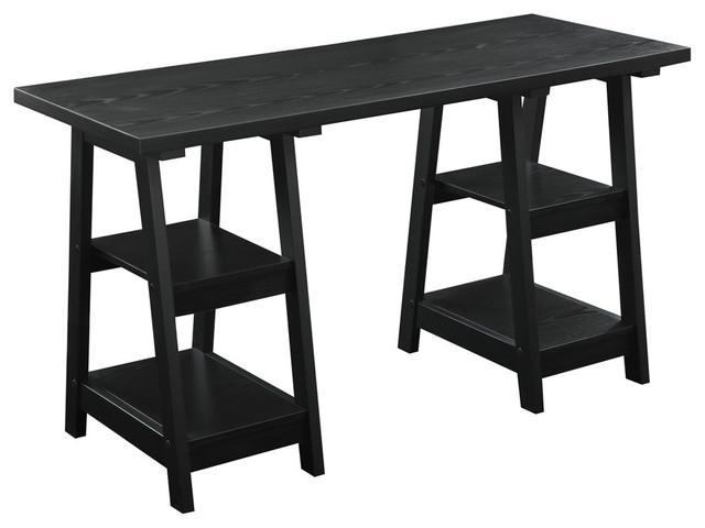 Double Trestle Desk, Black