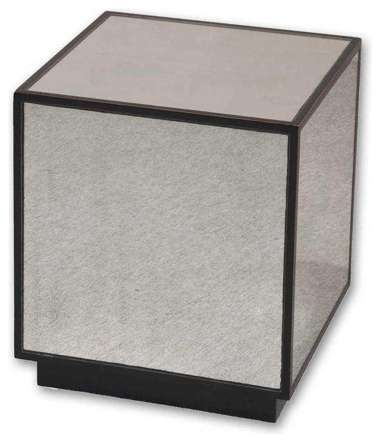 Red Aged Black Cube End Table Faceted Antiqued Mirrors Home Decor