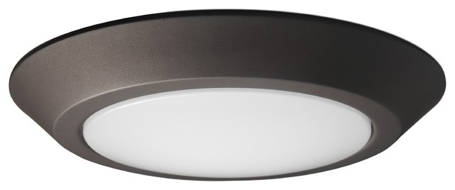 "Nuvo 10"" Led Flush Mount Fixture Disk Light Mahogany Bronze Finish 3000k."