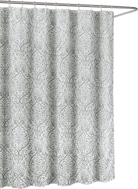 Leona Grey White Sheer Fabric Shower Curtain Floral Scroll Damask Design