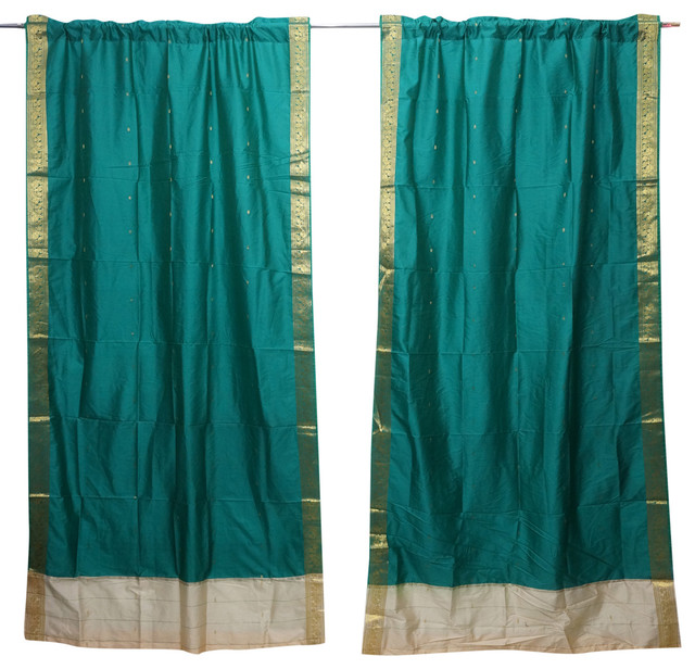 Pleasant 2 Indian Silk Sari Curtains Draperies Sea Green Brocade Border Window Decor Interior Design Ideas Inamawefileorg