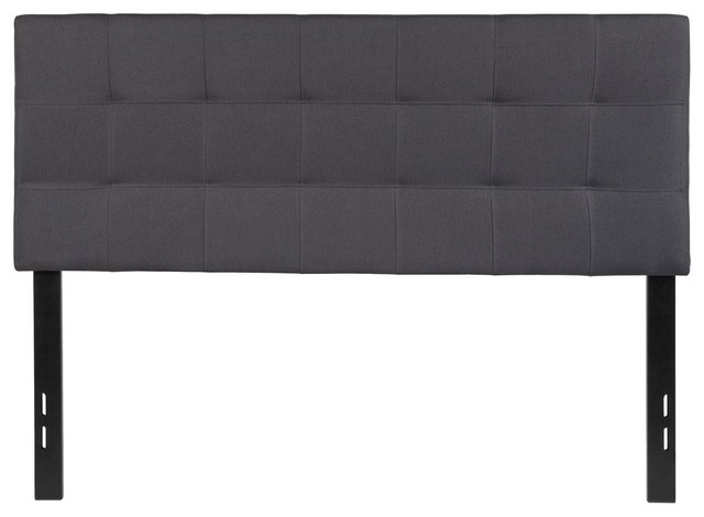 Tufted Upholstered Full Size Headboard, Fabric, Dark Gray by Alamont
