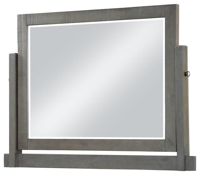 Austin Solid Wood Tilt Mirror Rustic Gray Bathroom Mirrors