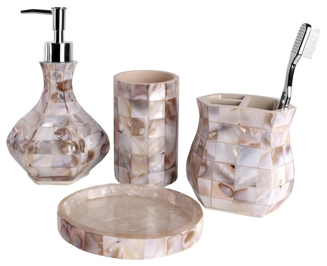 Beachy Bathroom Accessories: Milano 4-Piece Bath Accessory Set, Mother-of-Pearl
